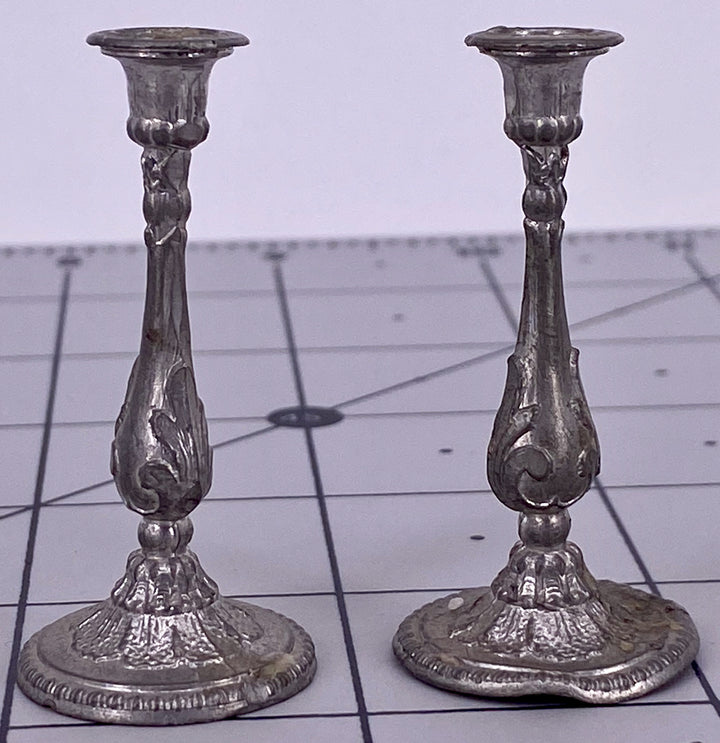 Pair white soft metal Georgian style dollhouse candlesticks