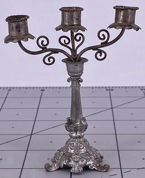 White Metal Candelabra for Dollhouse