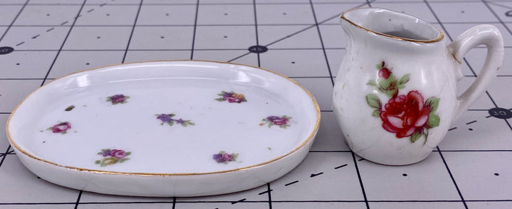 oval porcelain tray & jug for doll house