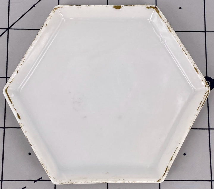 six-sided white porcelain plate for doll house