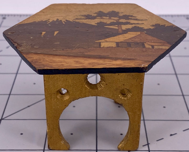 six-sided marquetry table for doll house