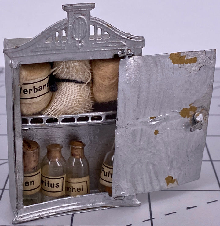 Doll house German apothecary cabinet with contents