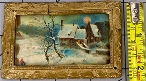 Ormolu rectangular glazed picture frame, Winter scene