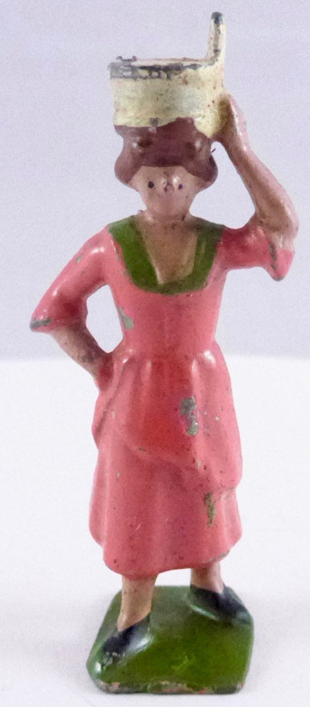 Britains milkmaid with pail on head, pink