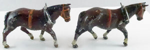Pair of Britains field horses with collar, brown