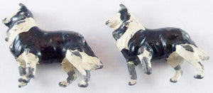 two Britains black and white collies
