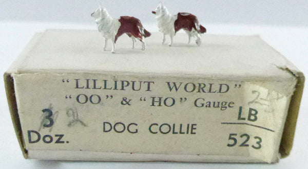 Britains Lilliput series pair of collie dogs, brown