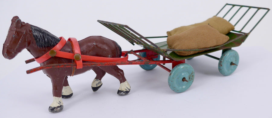 Olson Farminit tinplate & wire hay wagon