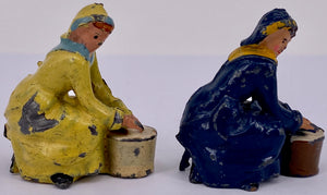 Britains seated milkmaids, pair, yellow and blue