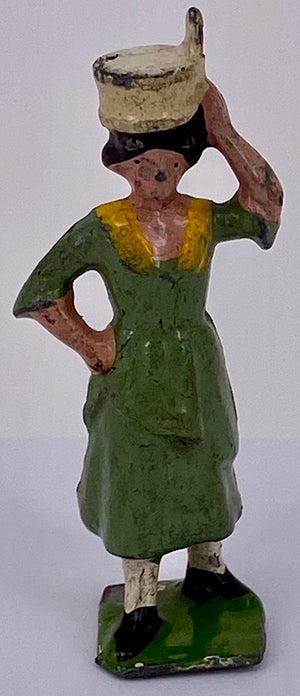 Britains milkmaid with pail on head, green