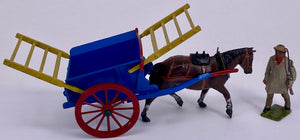Britains tumbrel cart with carter 4F, picture box, blue and yellow