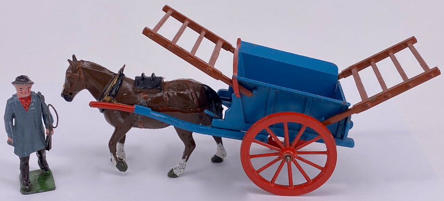 Britains tumbrel cart with carter 4F, picture box, blue and brown