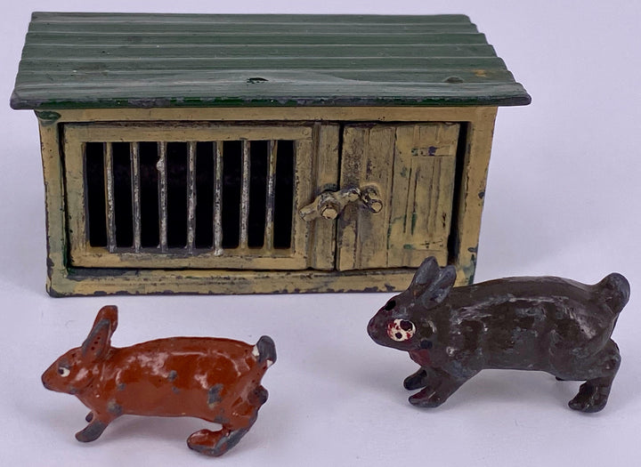 Johillco rabbit hutch and two rabbits
