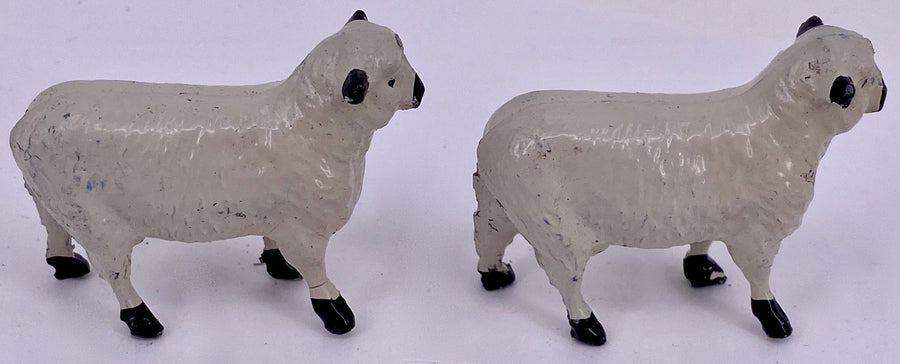 Two Britains Hampshire Down rams standing from trade box