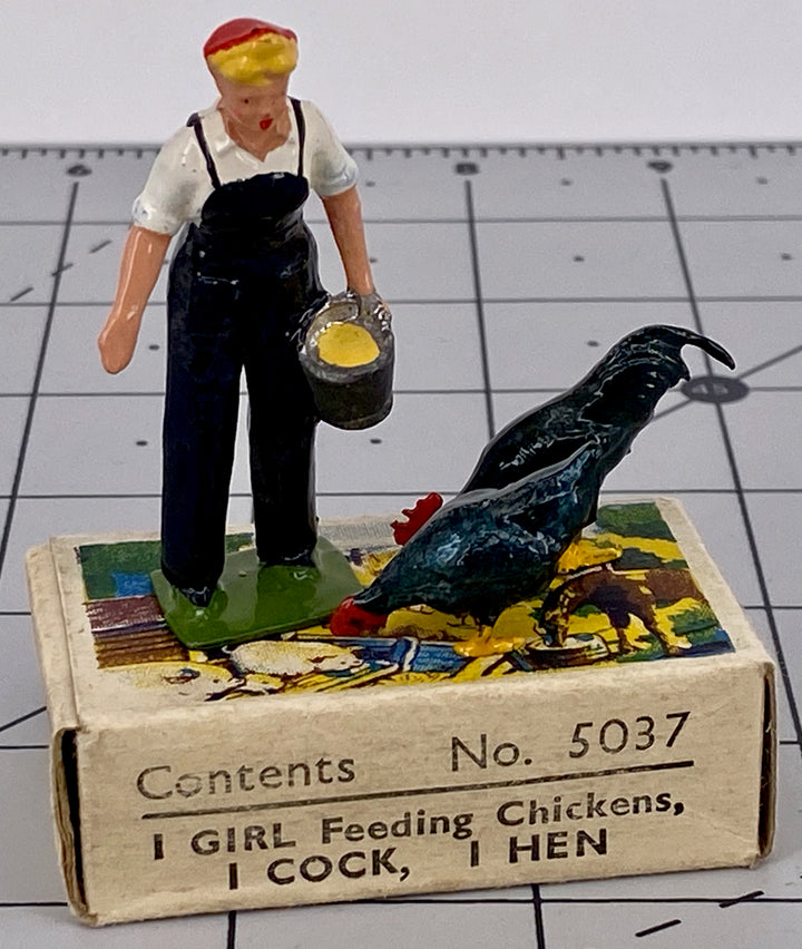 Britains girl feeding chickens, cock and hen, boxed
