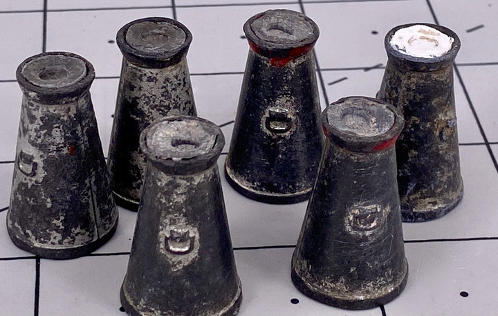 set of six Britains silver milk churns