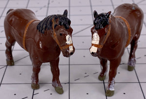 set of 2 Britains shire horses, brown