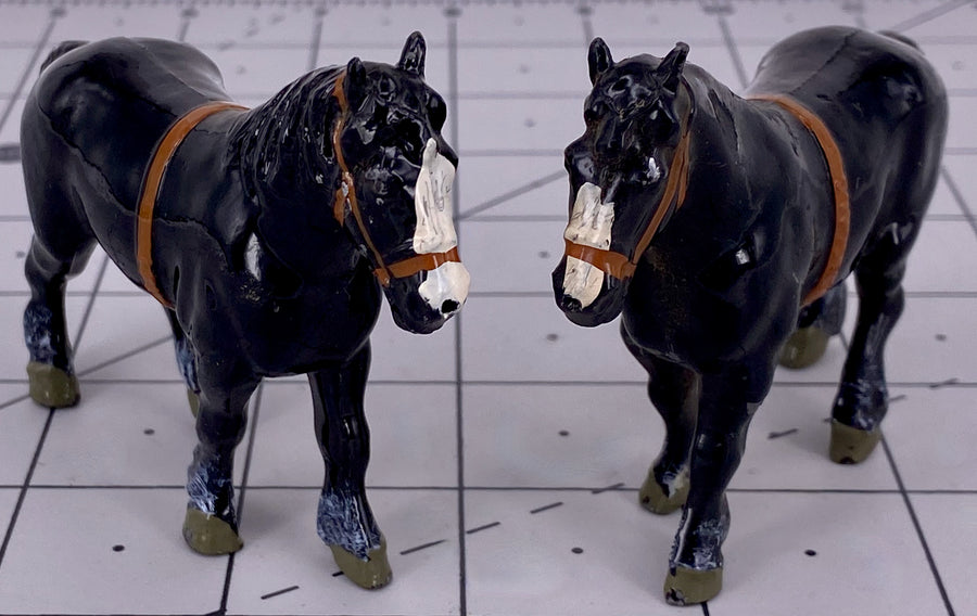 set of 2 Britains shire horses, black
