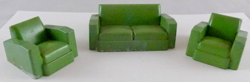 Crescent lounge suite, three pieces, green