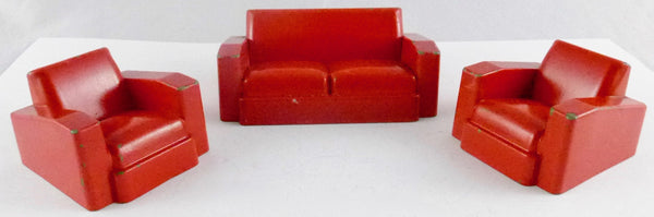 Crescent lounge suite, three pieces, red