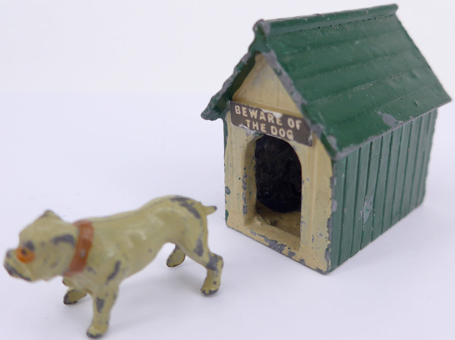 green Johillco kennel with cream bulldog