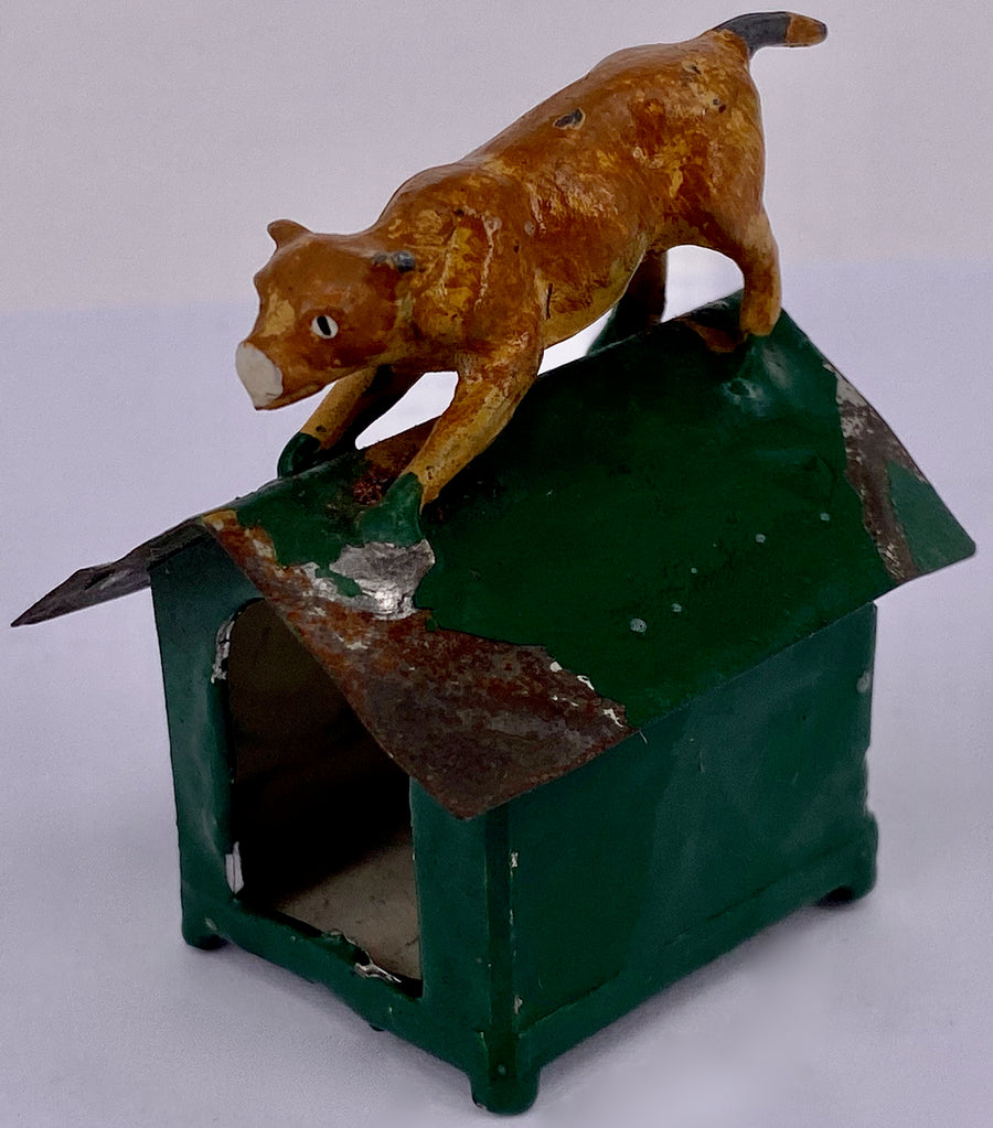 unusual kennel with dog on roof