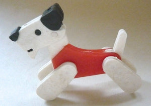 plastic circus dog, red