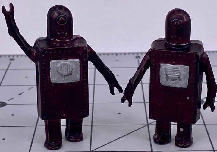 Johillco Spacemen two Suitcase Robots, purple, extremely rare