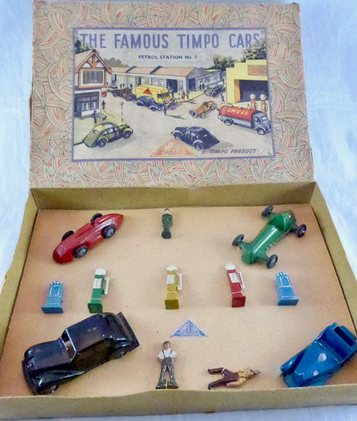 rare boxed set The Famous Timpo Cars - Petrol Station number 3