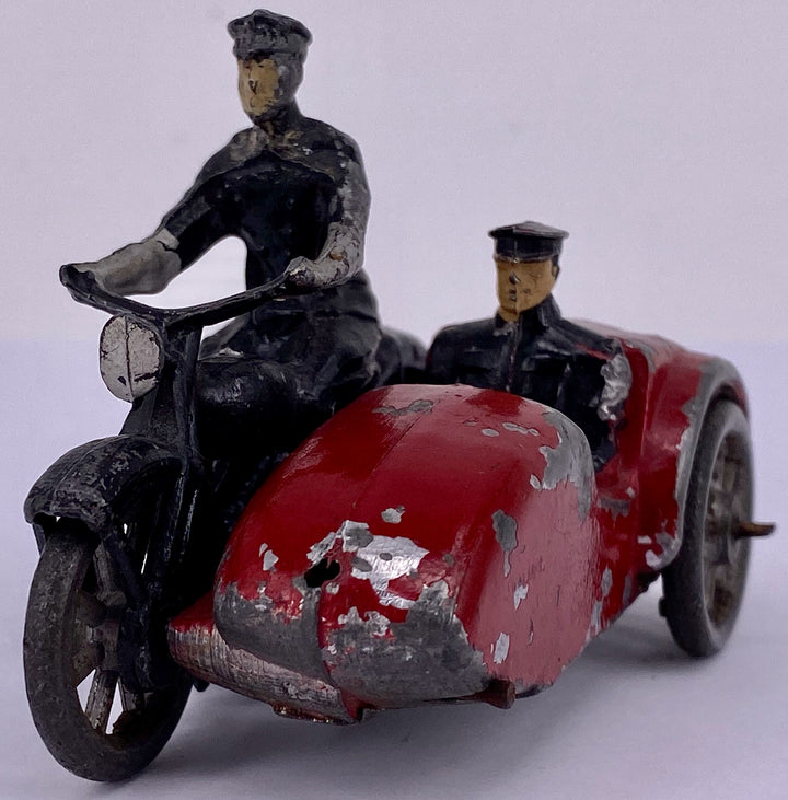 Black motorcycle and red sidecar