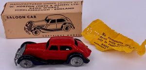 Britains Lilliput series saloon car, boxed, red