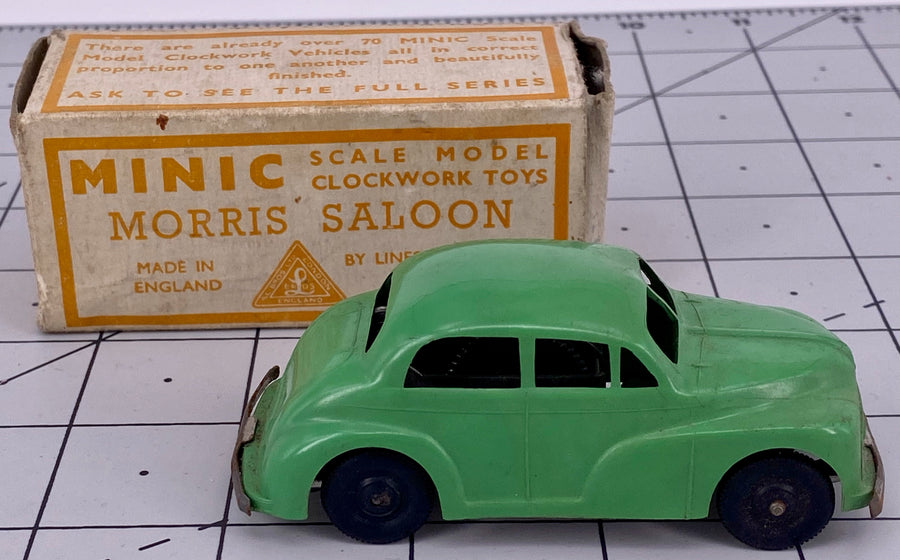 Boxed Minic clockwork Morris saloon