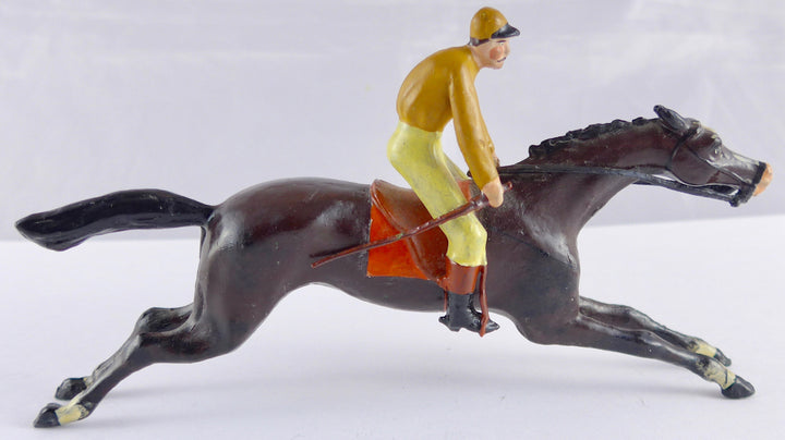 large scale Heyde racehorse and rider in full gallop, yellow