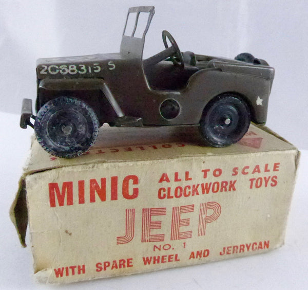Triang Minic No.1 Jeep with spare wheel and jerry can, boxed