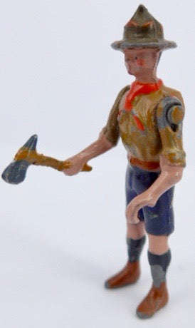 Britains Boy Scout with axe, freestanding, red
