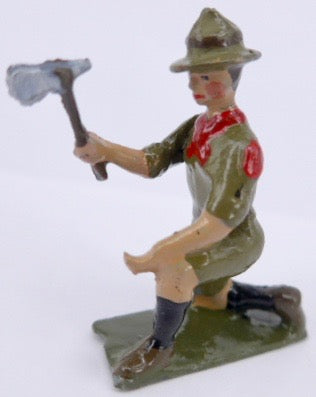 Britains Boy Scout kneeling with axe
