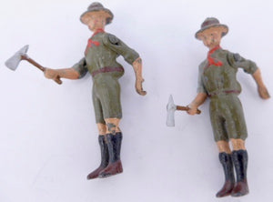 Britains Boy Scout with axe, pair