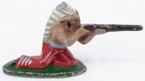 Wend-al kneeling Indian with rifle, red