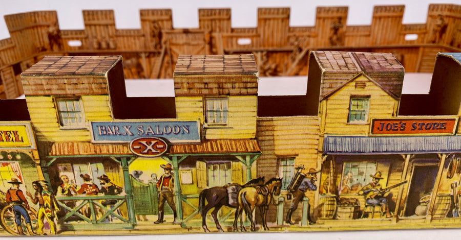 very rare Crescent Wild West cardboard town and lead cowboys