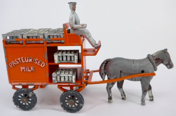 Moko horse drawn milk float, full size, 9 crates