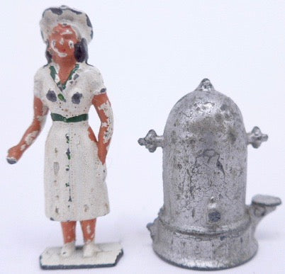 Crescent waitress figure and tea urn B