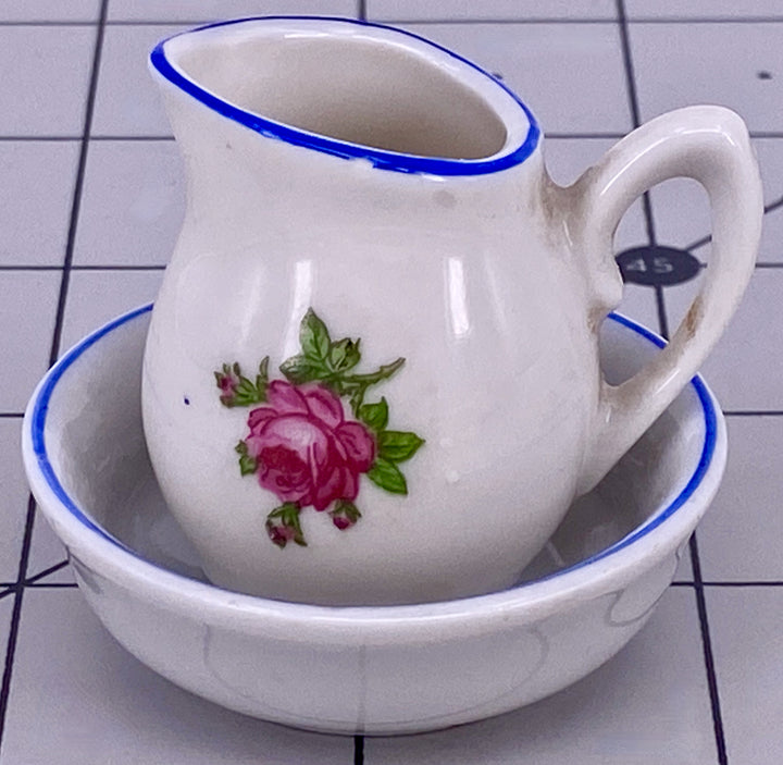 china jug and bowl with rose pattern for doll house