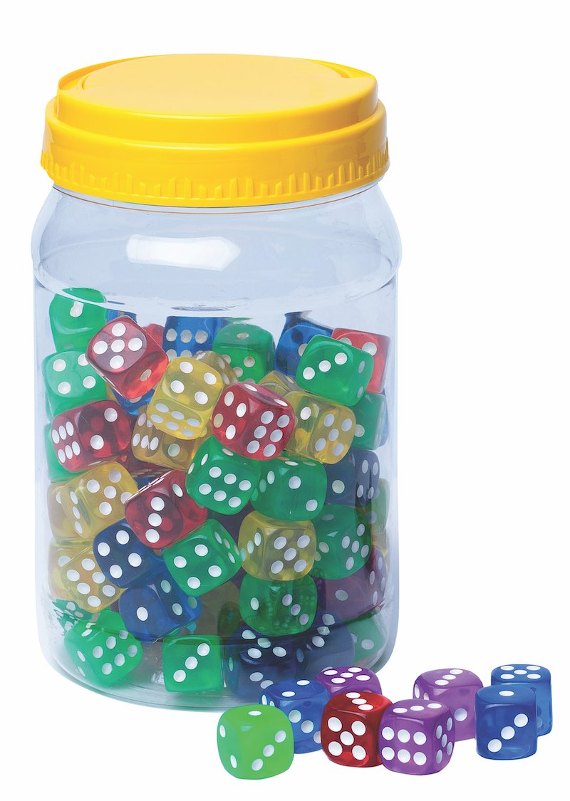 16mm Dot Dice, Assorted Colours