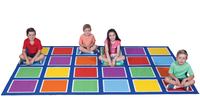 Colour Squares Placement Rug - 24  Squares