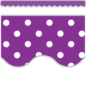 Scalloped Polka Dot Paper Borders - 8 Colours Available