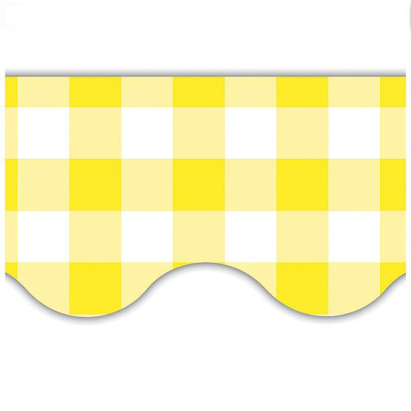 Gingham Scalloped Border Trim - Yellow