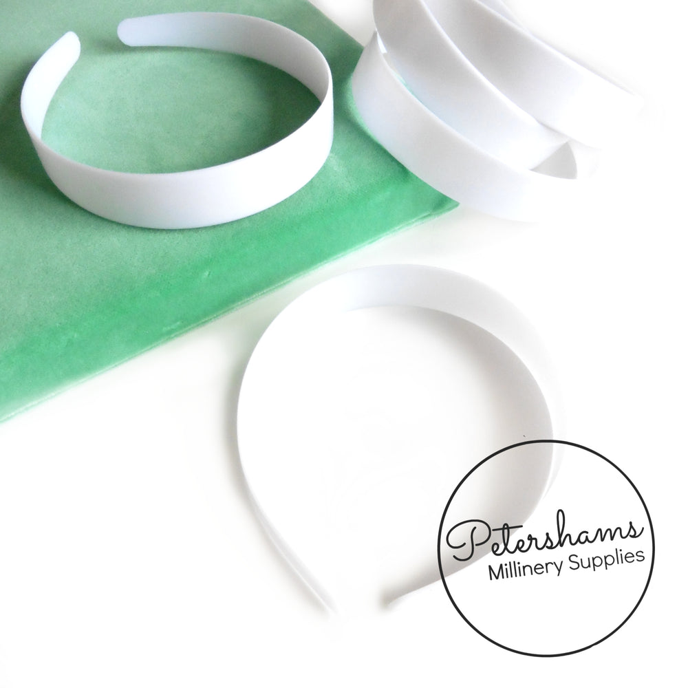 White Plastic Headband Core Blanks - 10mm, 14mm, 19mm, 25mm, 32mm