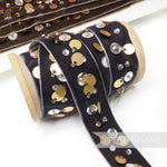 25mm Deco Seed Bead & Circular Sequin Adorned Velvet Ribbon - 1m