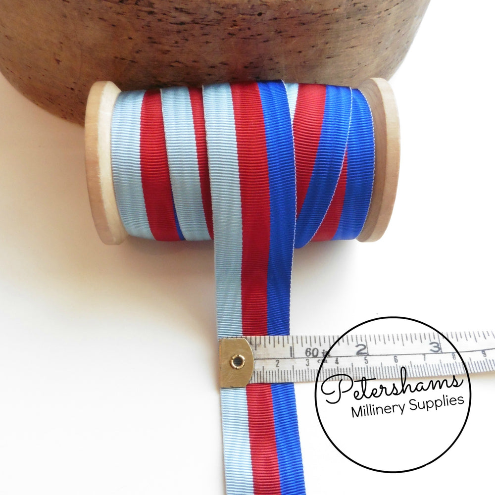 Vintage 25mm Wide Striped Moire Grosgrain Ribbon - 1m