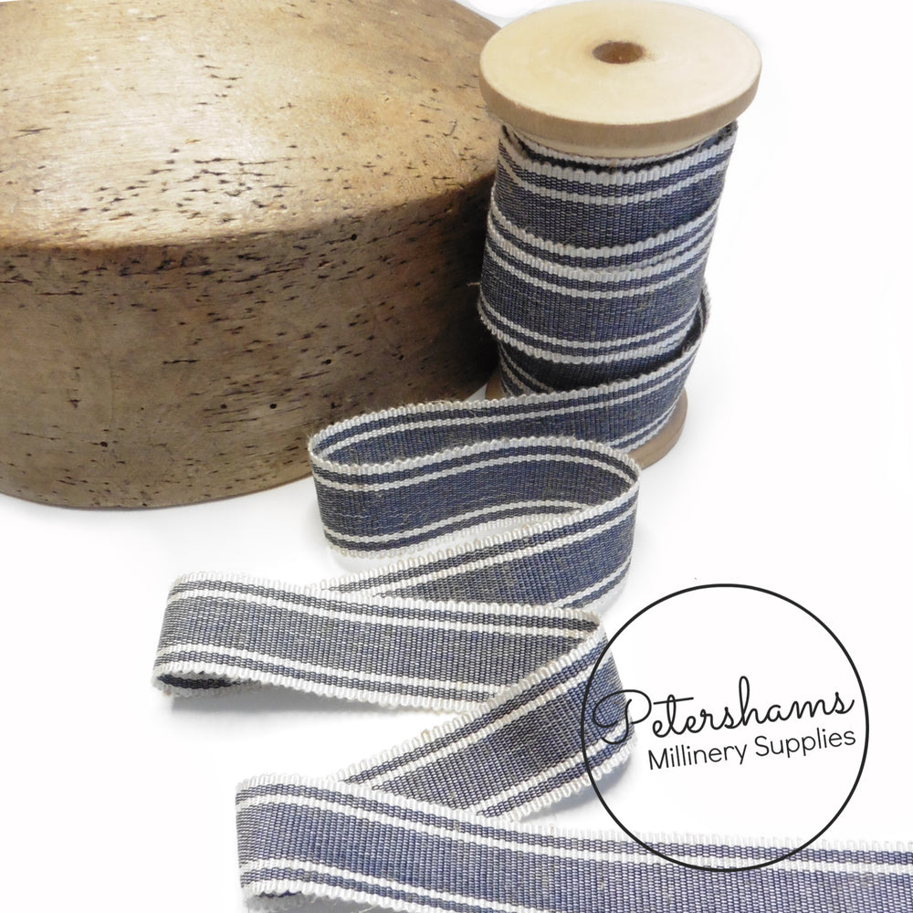 25mm No.5 Striped Linen Threaded Millinery Petersham Hat Ribbon - 1m